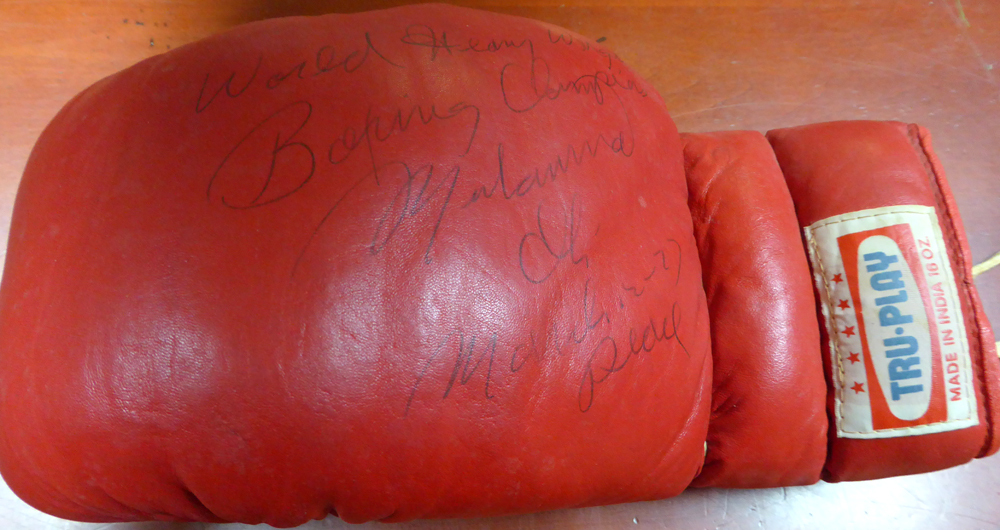 Muhammad Ali Autographed Signed Tru Play Boxing Glove World Heavy Weight Boxing Champ March 12 - 77 Peace - PSA/DNA Certified Image a